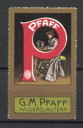 Reklamemarke G. M. Pfaff Kaiserslautern, Dame sitzt an einer Nähmaschine