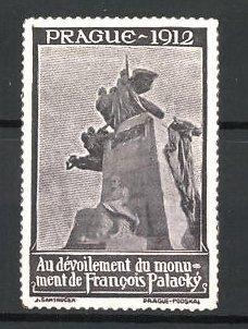 Reklamemarke Prague - Prag, Au devoilement du monument de Francois Palacky 1912, Denkmal, grau