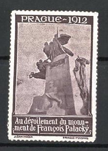 Reklamemarke Prague - Prag, Au Devoilement du monument de Francois Palacky 1912, Denkmal, braun