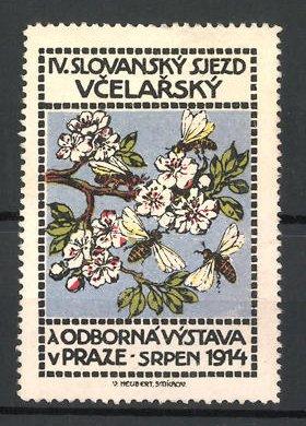 Reklamemarke Prag, IV. Slovansky Sjezd Vcelarsky 1914, a Odborna Vystava, Bienen an Blüten