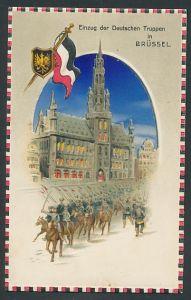 AK Brüssel, Einzug der Deutschen Truppen, Halt gegen das Licht