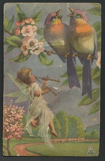 Geräusch-AK kleiner Engel mit Flöten, Vögel auf einem Zweig