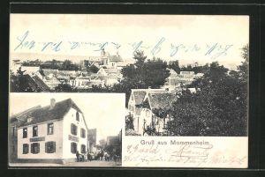 AK Mommenheim, Blick auf den Gasthof, Blick über die Dächer der Ortschaft