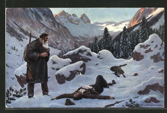 Künstler-AK Wilderer entdeckt einen toten Mann im Schnee