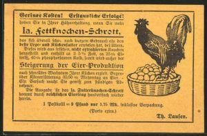 AK Reklame Reklame für Fettknochen-Schrot, Th. Laufer, Knochen-Mühle