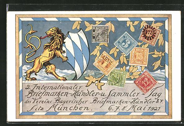 AK 2. Internationaler Briefmarken-Händler- und Sammler-Tag des Vereins Bayerischer Briefmarken-Händler 1927, Ausstellung