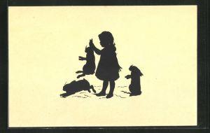 Künstler-AK Paul Konewka: Mädchen mit Kaninchen, Scherenschnitt