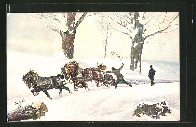 AK Forstarbeiter mit Pferdegespann
