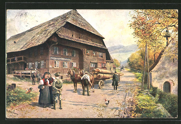 AK Forstarbeiter am Gasthaus zum Himmelreich