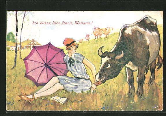 AK Ich küsse Ihre Hand, Madame! Kuh leckt Hand einer Frau