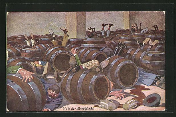 AK Nach der Bierschlacht, betrunkene zwischen Bierfässern