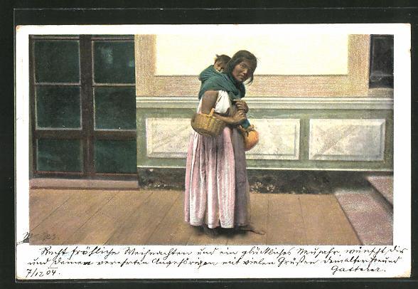 AK Indianerin mit Kleinkind auf dem Rücken