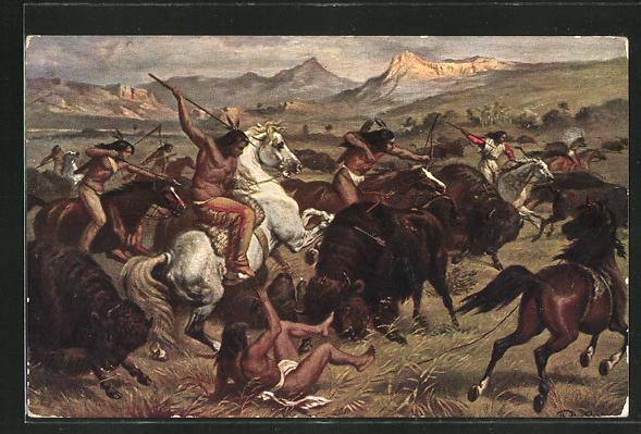 AK Indianer auf der Büffeljagd