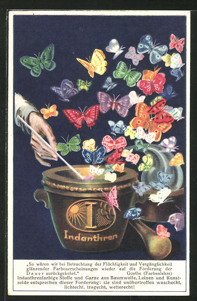 AK Reklame für indanthrenfarbige Stoffe, Schmetterlinge