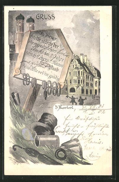 AK München, Denkmal für den Zecher ... vor dem Hofbräuhaus, Scherz, 'S Marterl