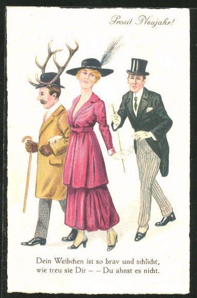 AK Prosit Neujahr!, Dein Weibchen ist so brav und schlicht..., Untreue, Scherz
