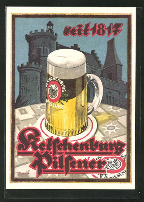 AK Brauerei-Werbung für Ketschburg-Pilsener seit 1817