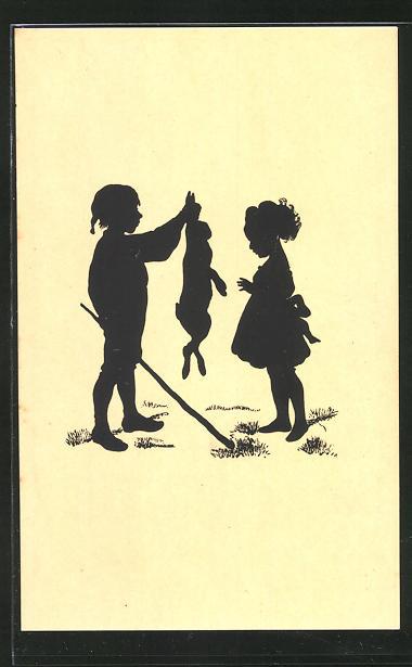 Künstler-AK Paul Konewka: kleiner Junge gibt einem jungen Mädchen einen Hasen