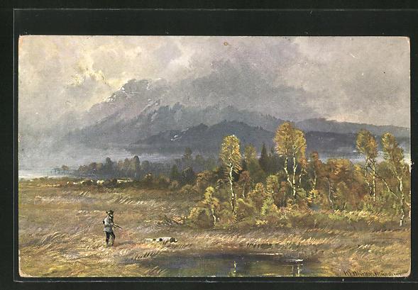 Künstler-AK M. Müller jun.: Jäger mit Jagdhund am Waldsee