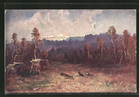 Künstler-AK M. Müller jun.: Rehe beim Grasen auf einer Waldlichtung
