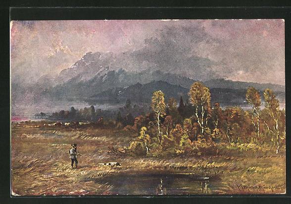 Künstler-AK M. Müller jun.: Jäger mit Jagdhund an einem Waldsee