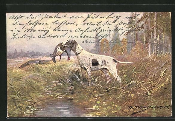 Künstler-AK M. Müller jun.: Jagdhund mit Fasan im Maul