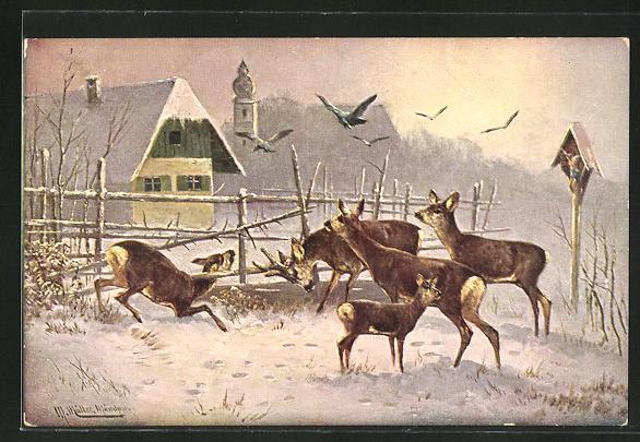 Künstler-AK M. Müller jun.: Rehe auf Futtersuche am winterlichen Ortsrand