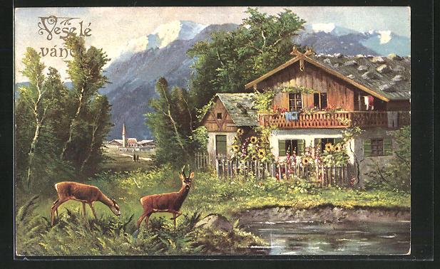Künstler-AK M. Müller jun.: Rehe am Wasser neben einem Haus