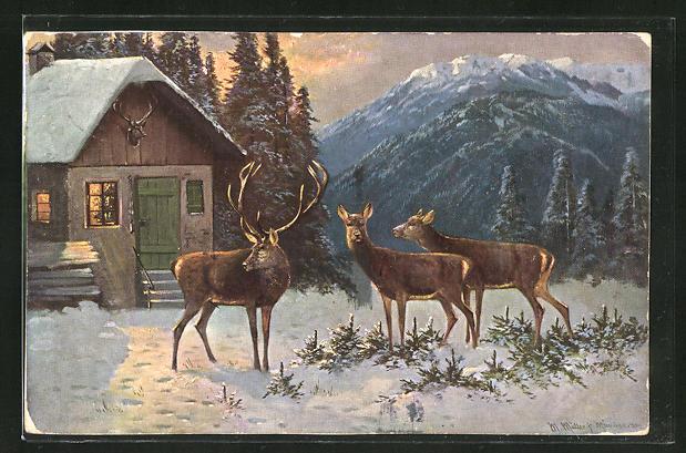 Künstler-AK M. Müller jun.: Hirsch mit Hirschkühen an einem Haus im Winter