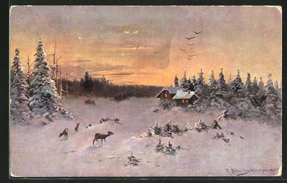 Künstler-AK M. Müller jun.: Rehe beim Morgengrauen in winterlicher Landschaft