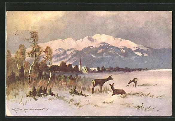 Künstler-AK M. Müller jun.: Rehe bei der Futtersuche im Winter
