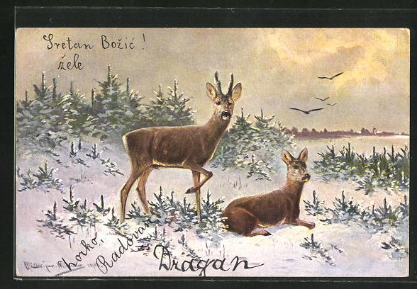 Künstler-AK M. Müller jun.: Rehe in winterlicher Landschaft