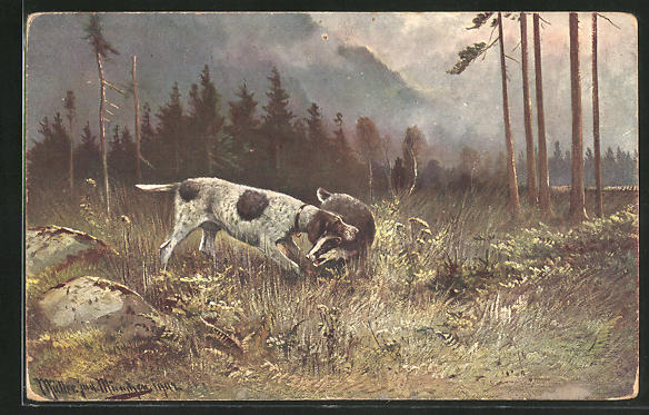 Künstler-AK M. Müller jun.: Jagdhund mit Dachs im Maul