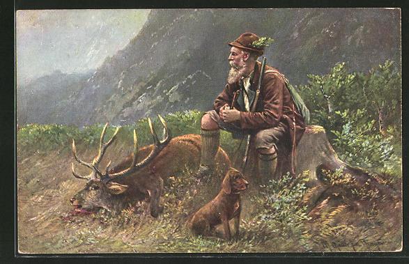 Künstler-AK M. Müller jun.: Jäger mit seinam Hund neben den erlegten Hirsch sitzend