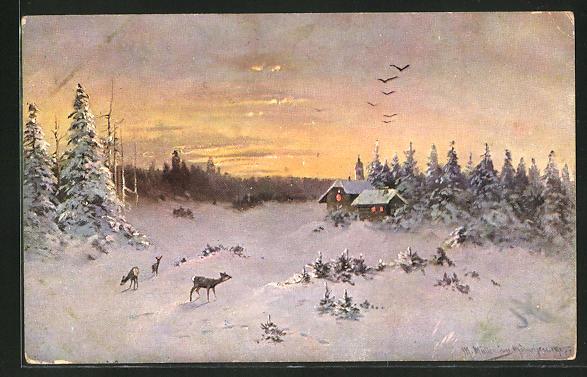 Künstler-AK M. Müller jun.: Rehe bei der Futtersuche im Schnee