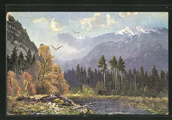 Künstler-AK M. Müller jun.: Raubvögel im Anflug über einen Waldsee
