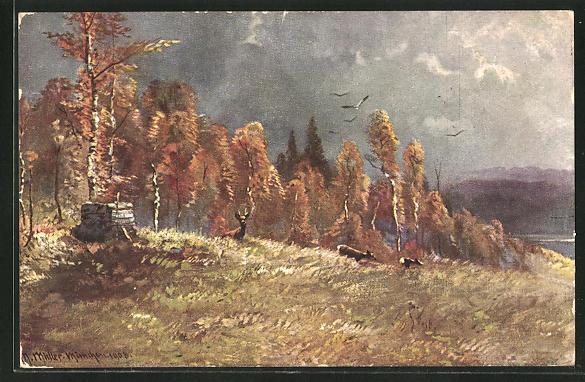 Künstler-AK M. Müller jun.: Rehe auf einer Waldlichtung grasend