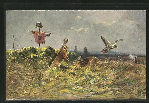 Künstler-AK M. Müller jun.: aufschreckende Hasen und Raubvogel durch Beschuss eines Jägers