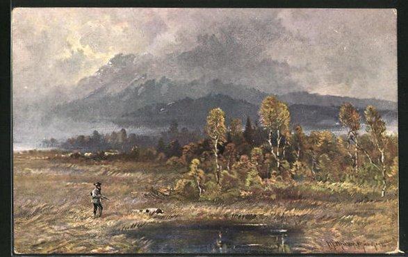 Künstler-AK M. Müller jun.: Jäger mit seinem Jagdhund an einem Waldsee