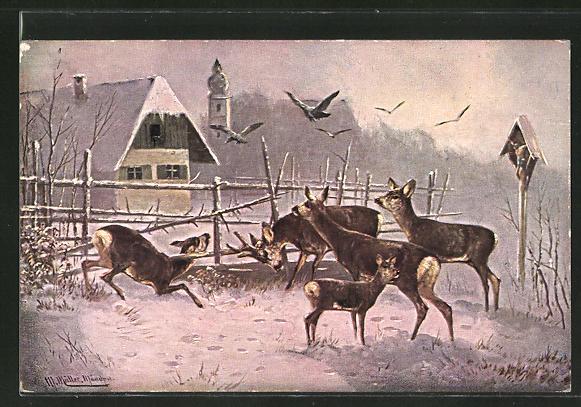 Künstler-AK M. Müller jun.: Rehe am winterlichen Ortsrand