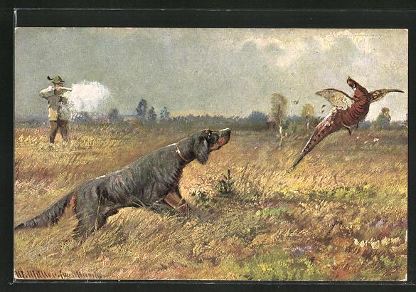 Künstler-AK M. Müller jun.: Jäger mit Jagdhund beim Abschuss eines Fasan