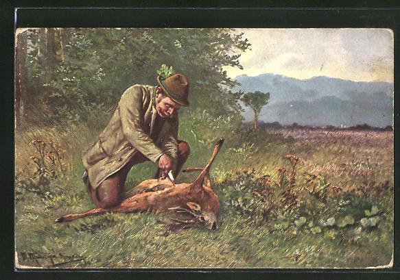 Künstler-AK M. Müller jun.: Jäger beim Zerlegen eines Rehes