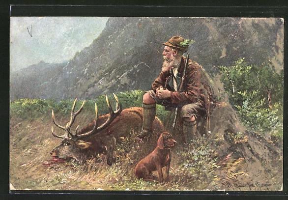 Künstler-AK M. Müller jun.: Jäger mit Hund neben erlegten Hirsch