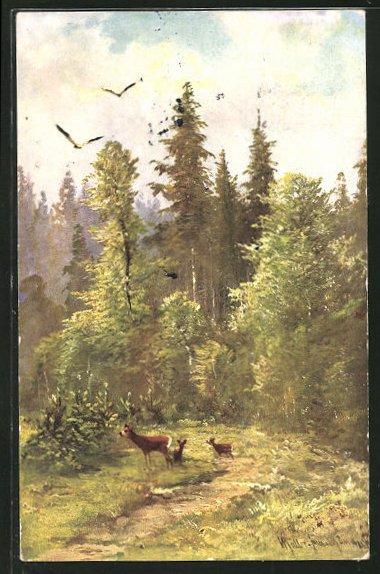 Künstler-AK M. Müller jun.: grasende Rehe auf einer Waldlichtung