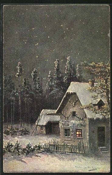 Künstler-AK M. Müller jun.: schneebedecktes Haus