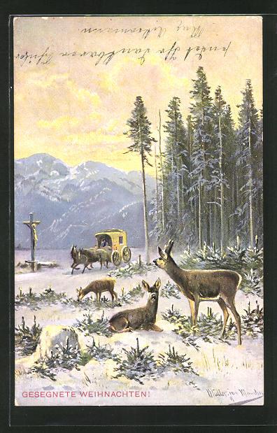 Künstler-AK M. Müller jun.: Rehe im winterlichen Wald mit Postkutsche 0