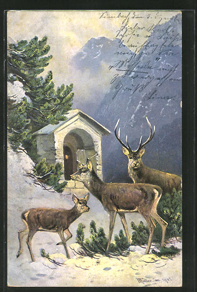 Künstler-AK M. Müller jun.: Hirsch mit Hirschkuh an einem Altar