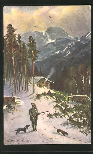 Künstler-AK M. Müller jun.: Jäger mit zwei Jagdhunden im winterlichen Wald