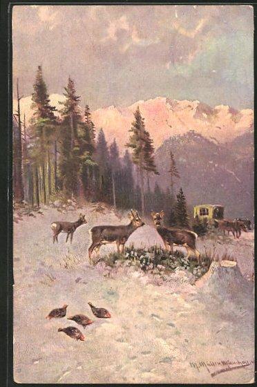 Künstler-AK M. Müller jun.: Rehe und Rebhühner im Winterwald