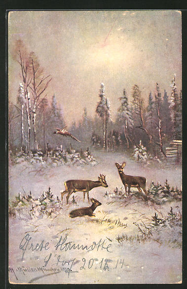 Künstler-AK M. Müller jun.: Rehe im winterlichen Wald 0